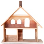 Spacious and airy dollhouse with a staircase, chimney, and attic room, open on multiple sides for interactive play with multiple children, a beautiful natural toy.