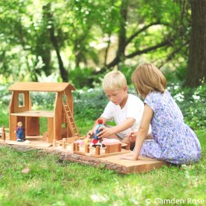 Our natural wooden farm toys are made in the USA - barn has a second floor that functions as a dollhouse - comes with fence, ladder and more.