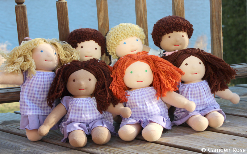 Camden dolls are 11-inch Waldorf inspired soft dolls for boys and girls.