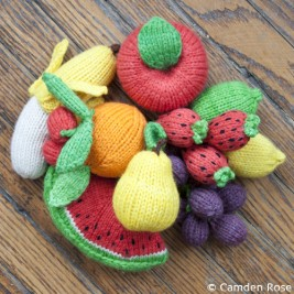 Hand-knitted play food