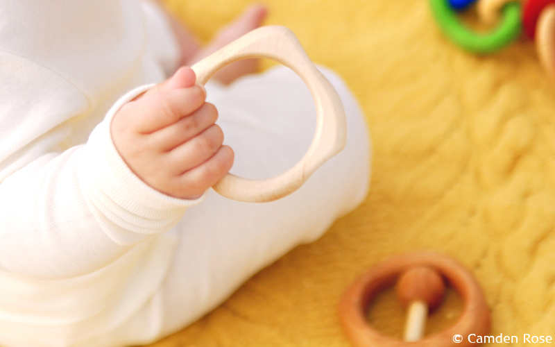 Natural and non-toxic, a solid wood teething ring made in the USA from Maple hardwood with soft rounded edges perfect for teething infants.
