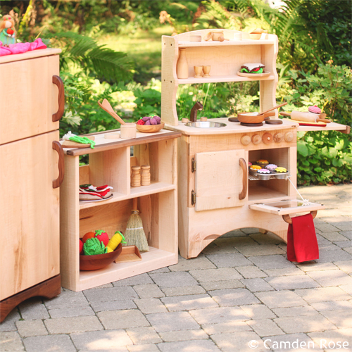 Wooden toys for the natural playroom ~ our beautiful wooden play kitchen set including handmade wooden stove, sink, refrigerator, shelving, and non-toxic toy food.